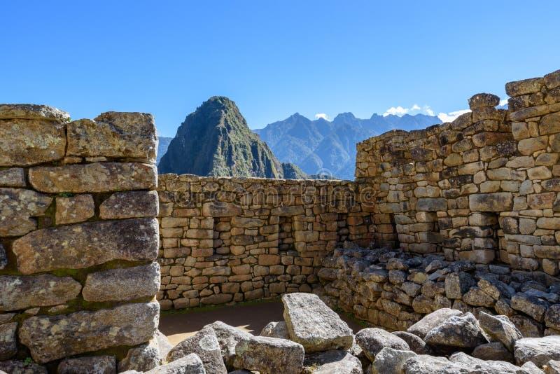 Construções de pedra em Machu Picchu imagem de stock