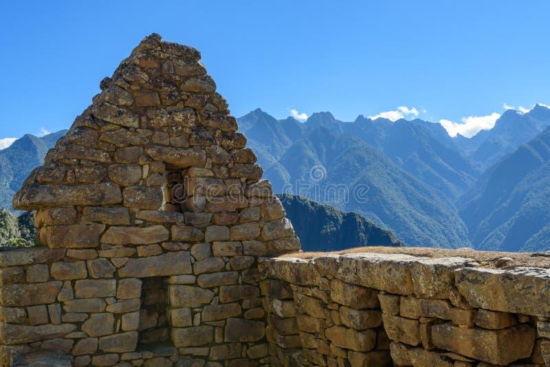 Construções de pedra em Machu Picchu fotografia de stock