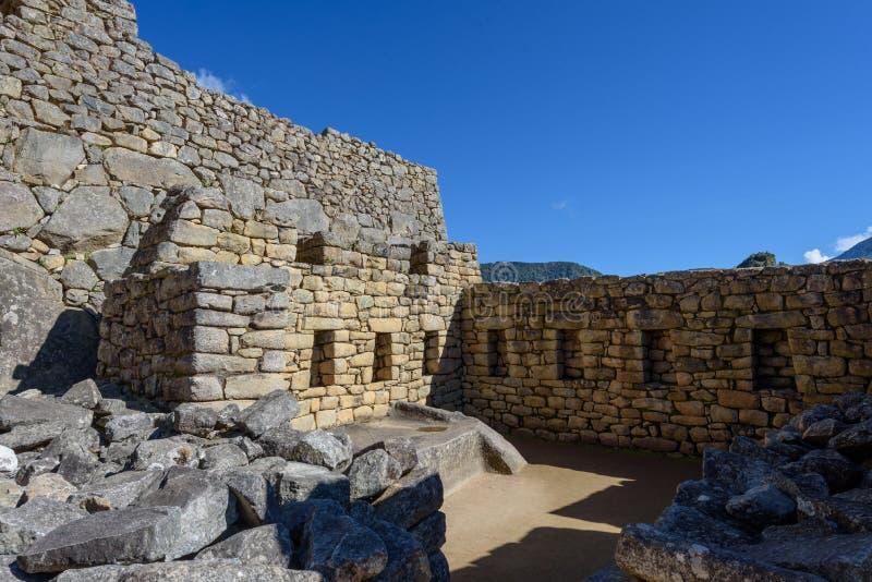 Construções de pedra em Machu Picchu imagens de stock