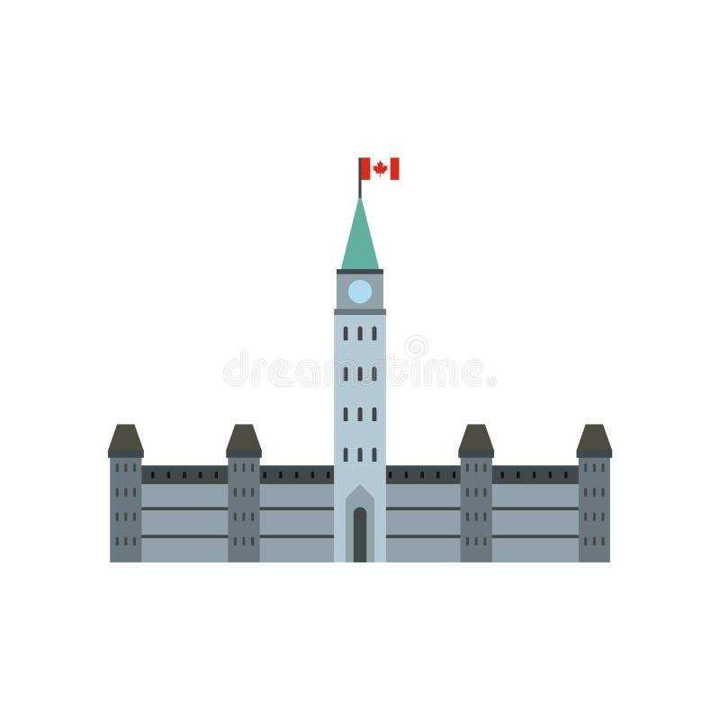 Construções do parlamento, ícone de Ottawa, estilo liso ilustração royalty free