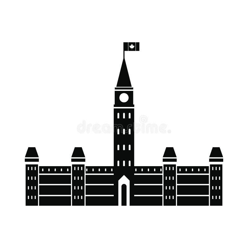 Construções do parlamento, ícone de Ottawa, estilo simples ilustração stock