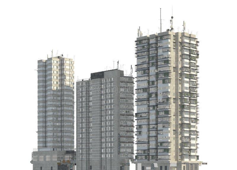 Construções dos precários isoladas na ilustração branca do fundo 3d imagem de stock royalty free