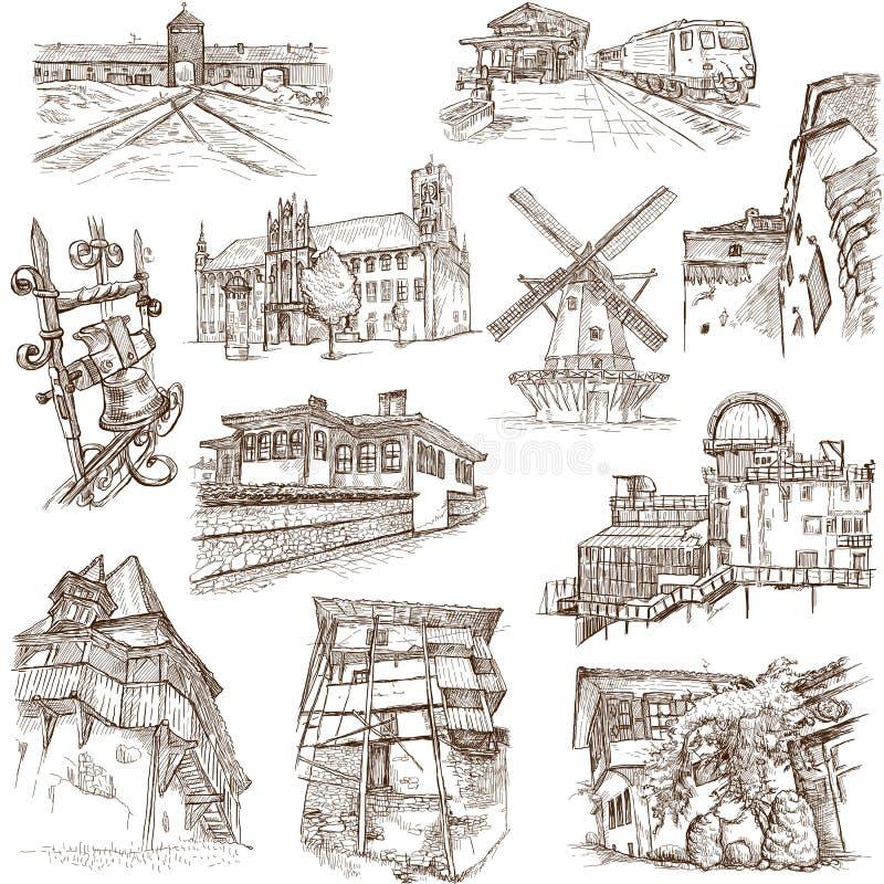 Construções e arquitetura ilustração royalty free