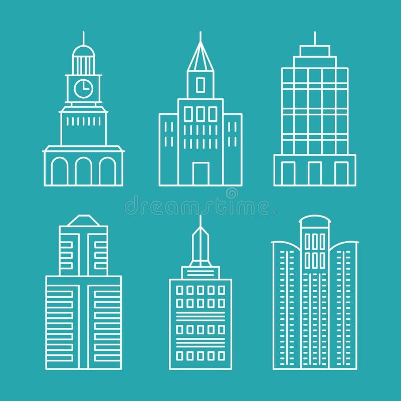 Construções e casas ajustadas do esboço do vetor ilustração stock