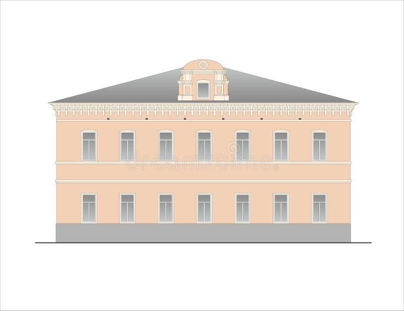 Construções e estruturas do adiantado e dos mediados do século XIX ilustração do vetor