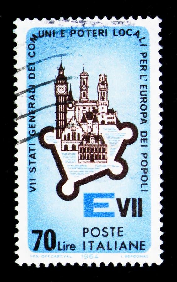 Construções e monumentos europeus, VII assembleia geral das cidades fotos de stock