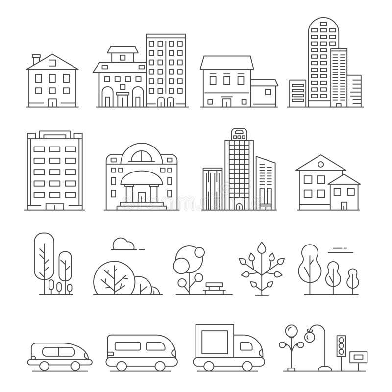 Construções e objetos urbanos Vector imagens lineares dos carros, da casa e de árvores urbanas ilustração do vetor