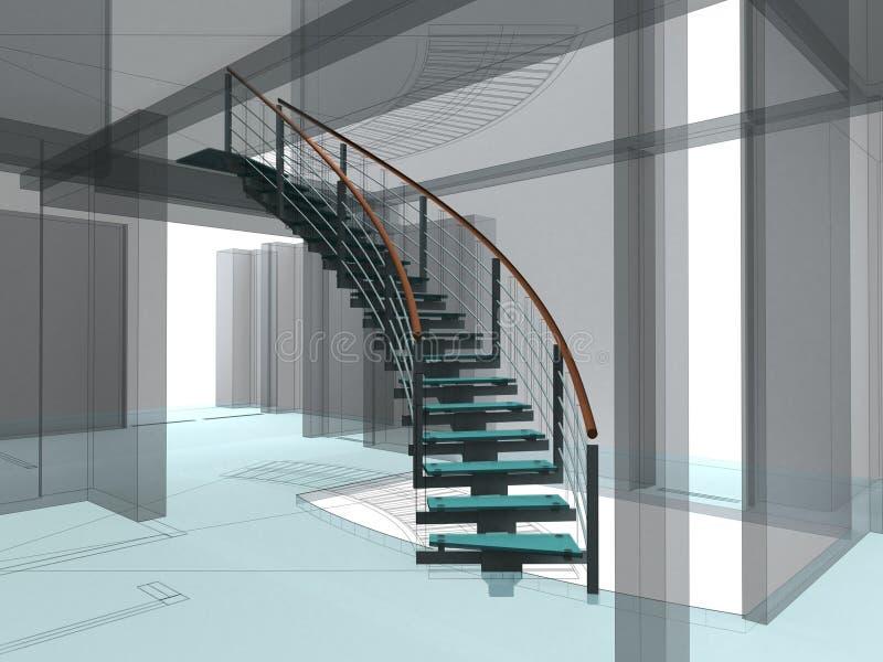 Construções espirais abstratas 02 das escadarias ilustração royalty free