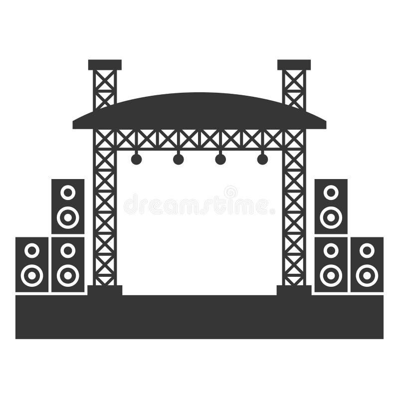 Construções exteriores da fase do concerto com ícone do sistema de som Vetor ilustração royalty free
