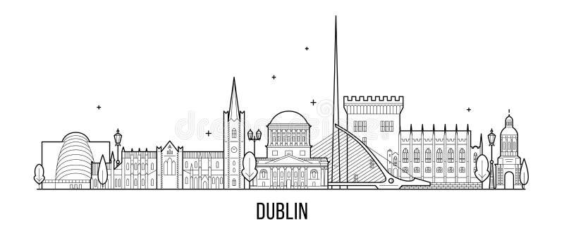 Construções grandes da cidade do vetor da Irlanda da skyline de Dublin ilustração do vetor