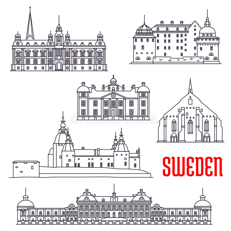 Construções históricas e sightseeings da Suécia ilustração stock