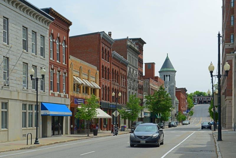 Construções históricas em Augusta, MIM, EUA imagem de stock