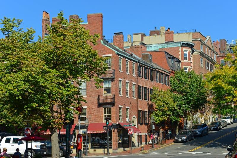Construções históricas em Beacon Hill, Boston, EUA fotos de stock royalty free