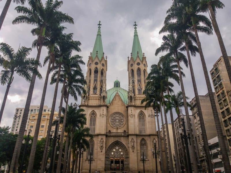 Construções históricas em uma área importante de São Paulo, Brasil fotos de stock royalty free