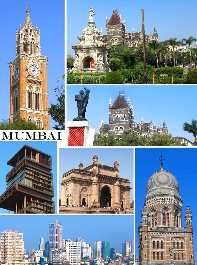 Construções históricas na colagem da cidade de Mumbai foto de stock