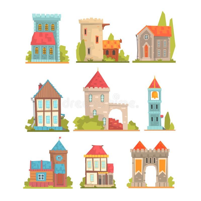 Construções históricas velhas e medievais ajustadas de torres da arquitetura, de fortificações e de casas europeias da cidade ilustração do vetor