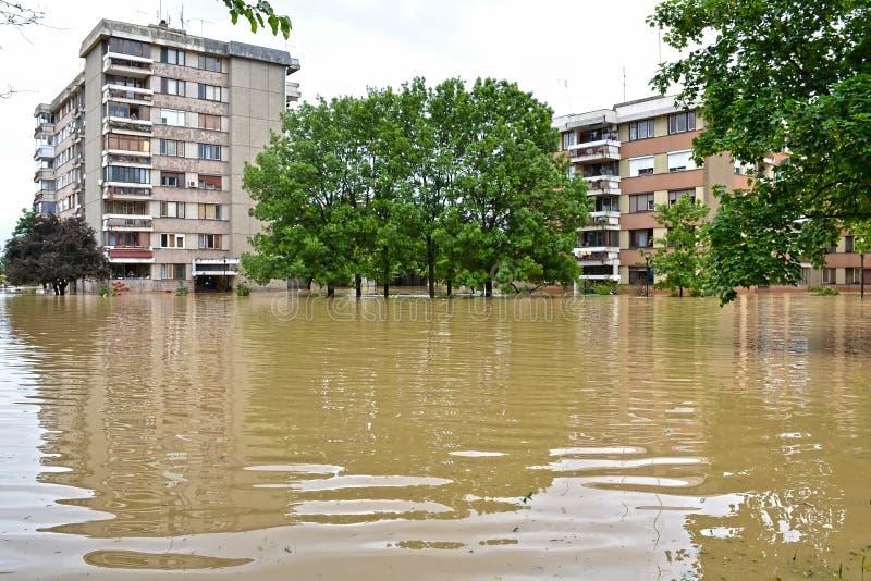 Construções inundadas na cidade inundada fotografia de stock