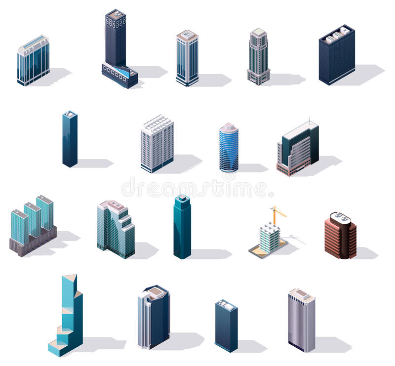 Construções isométricas do centro da cidade do vetor ajustadas ilustração do vetor