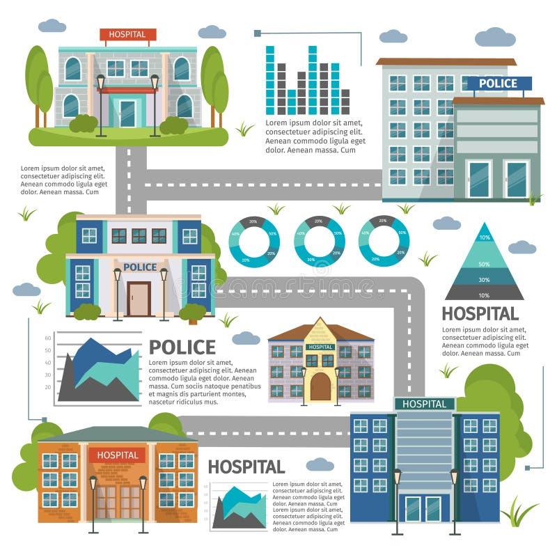 Construções lisas Infographic ilustração stock