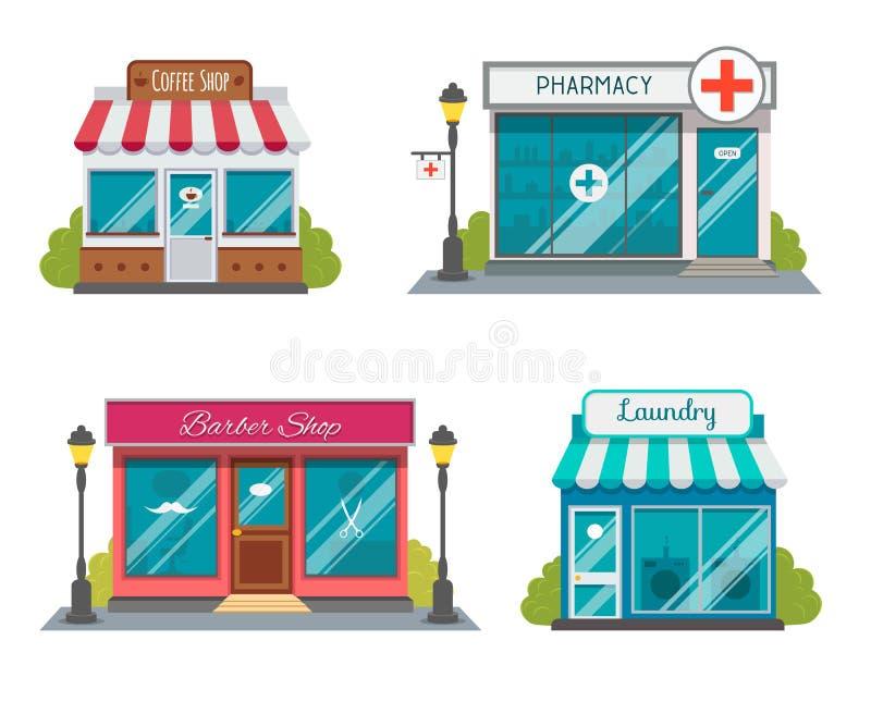Construções modernas do restaurante e de loja do fast food, fachadas da loja, boutiques com ícones lisos da mostra Mercado exteri ilustração royalty free