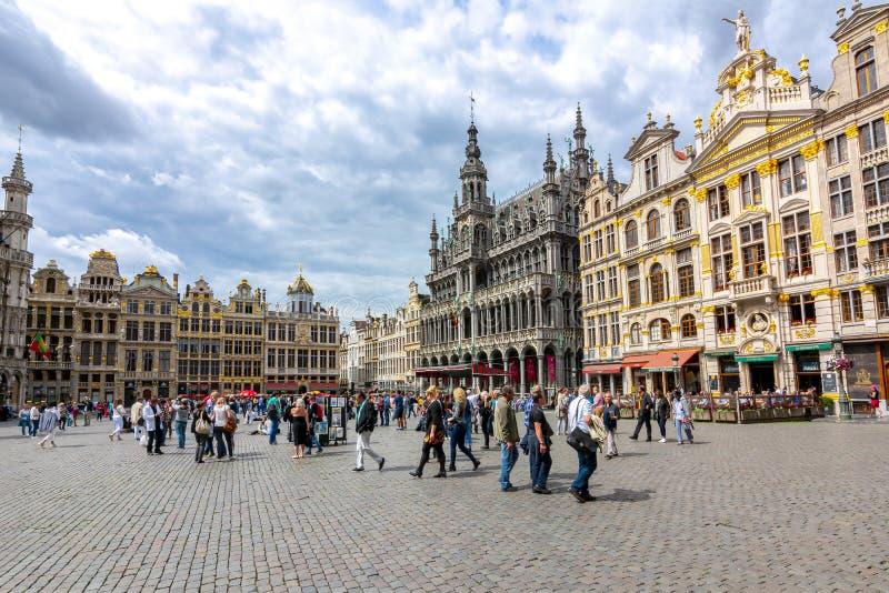 Construções no quadrado de Grand Place, Bruxelas, Bélgica fotos de stock royalty free