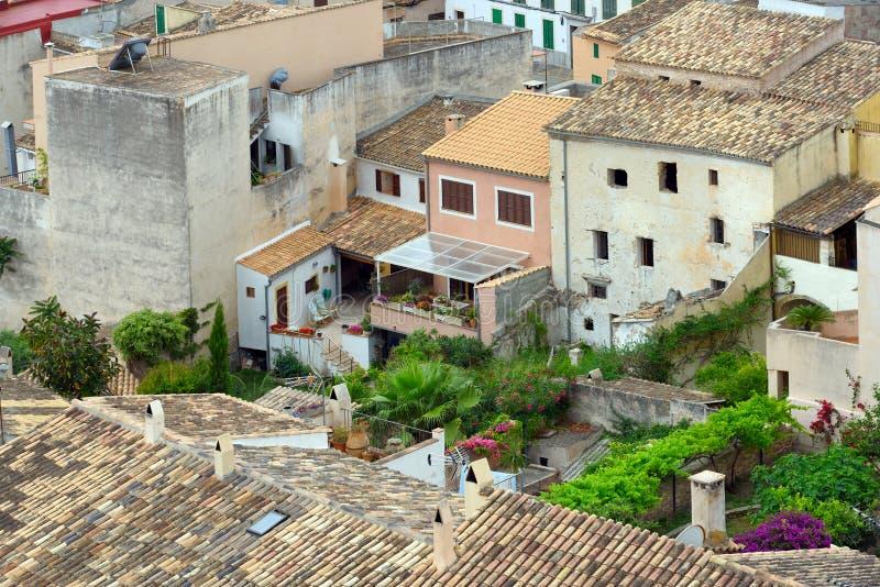 Construções residenciais velhas da municipalidade velha de Capdepera Majorca, Spain fotos de stock