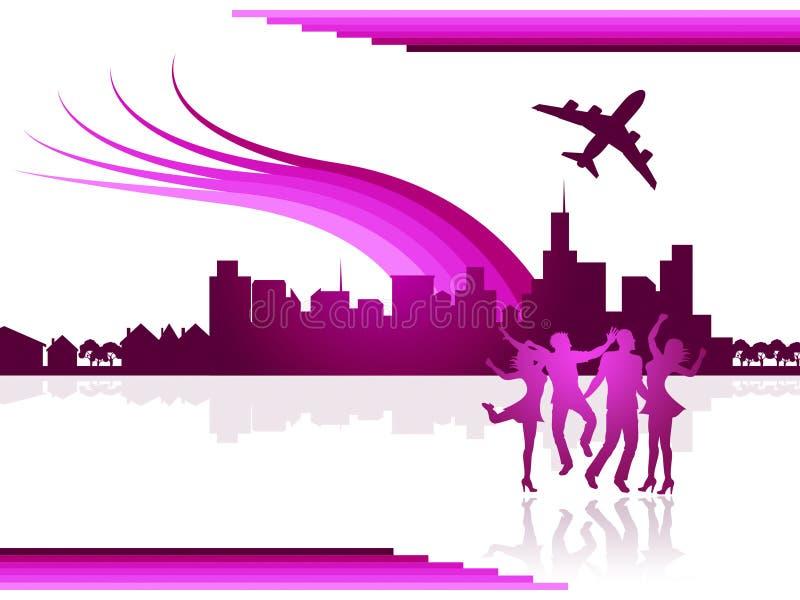 Construções transporte e curso das mostras da cidade dos voos ilustração stock