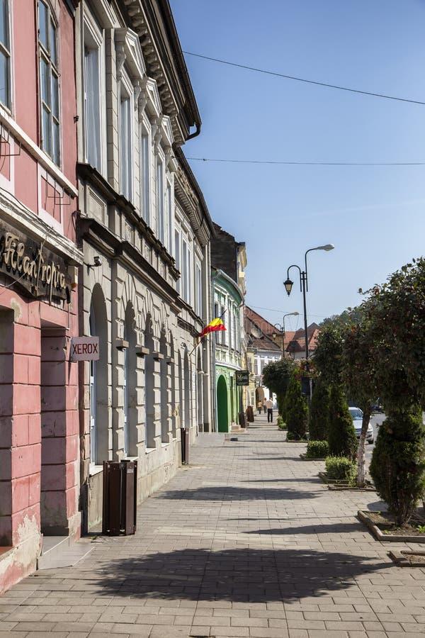 Construções velhas în da opinião da rua vith o centro histórico o 8 de agosto de 2018 em Sighisoara, a Transilvânia fotografia de stock
