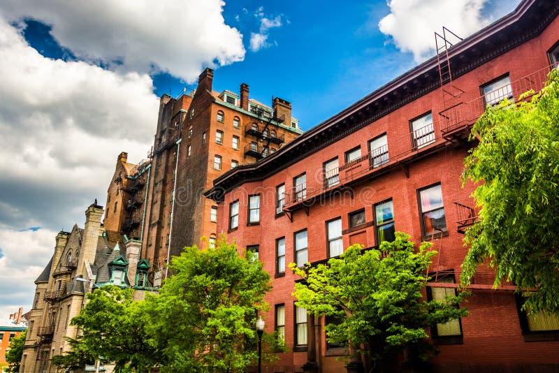 Construções velhas em Mount Vernon, Baltimore, Maryland fotografia de stock royalty free