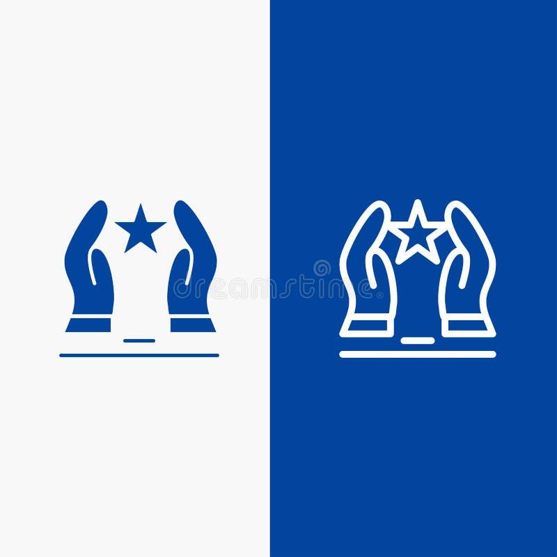 Construído, importe-se, do ícone contínuo azul da linha e do Glyph de bandeira do ícone contínuo motive-se, do motivação, da linh ilustração stock