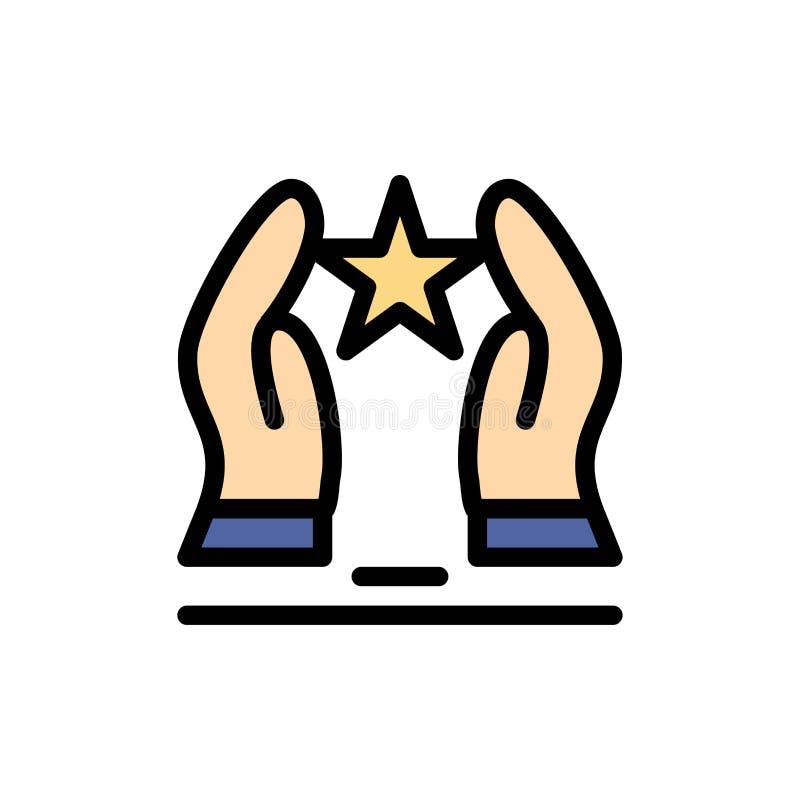Construído, importe-se, motive-se, motivação, ícone liso da cor da estrela Molde da bandeira do ícone do vetor ilustração stock