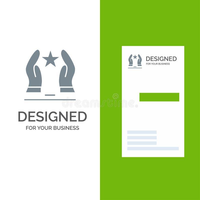 Construído, importe-se, motive-se, motivação, estrela Grey Logo Design e molde do cartão ilustração stock