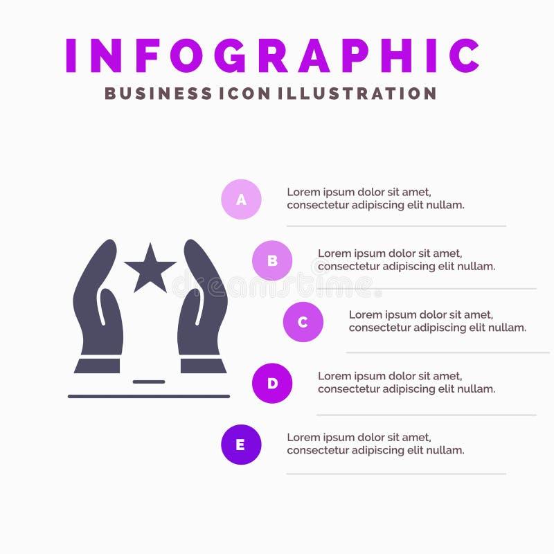 Construído, importe-se, motive-se, motivação, fundo contínuo da apresentação das etapas de Infographics 5 do ícone da estrela ilustração stock