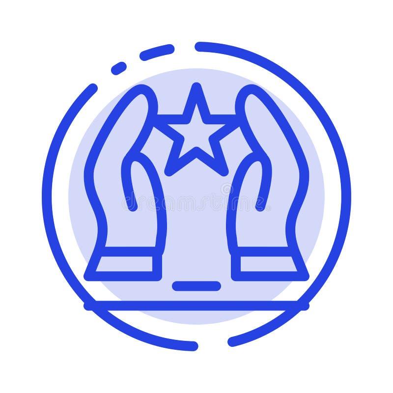 Construído, importe-se, motive-se, motivação, linha pontilhada azul linha ícone da estrela ilustração royalty free