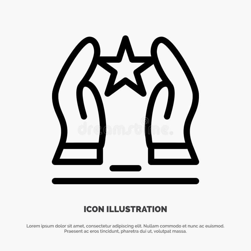 Construído, importe-se, motive-se, motivação, linha vetor da estrela do ícone ilustração stock