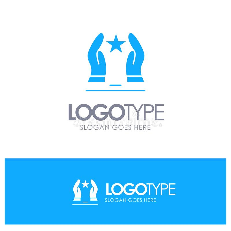 Construído, importe-se, motive-se, a motivação, logotipo contínuo azul da estrela com lugar para o tagline ilustração stock