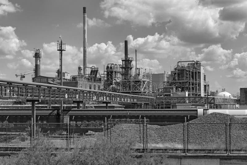Constru??o da f?brica em um parque industrial em Francoforte-Hoechst, Alemanha imagem de stock