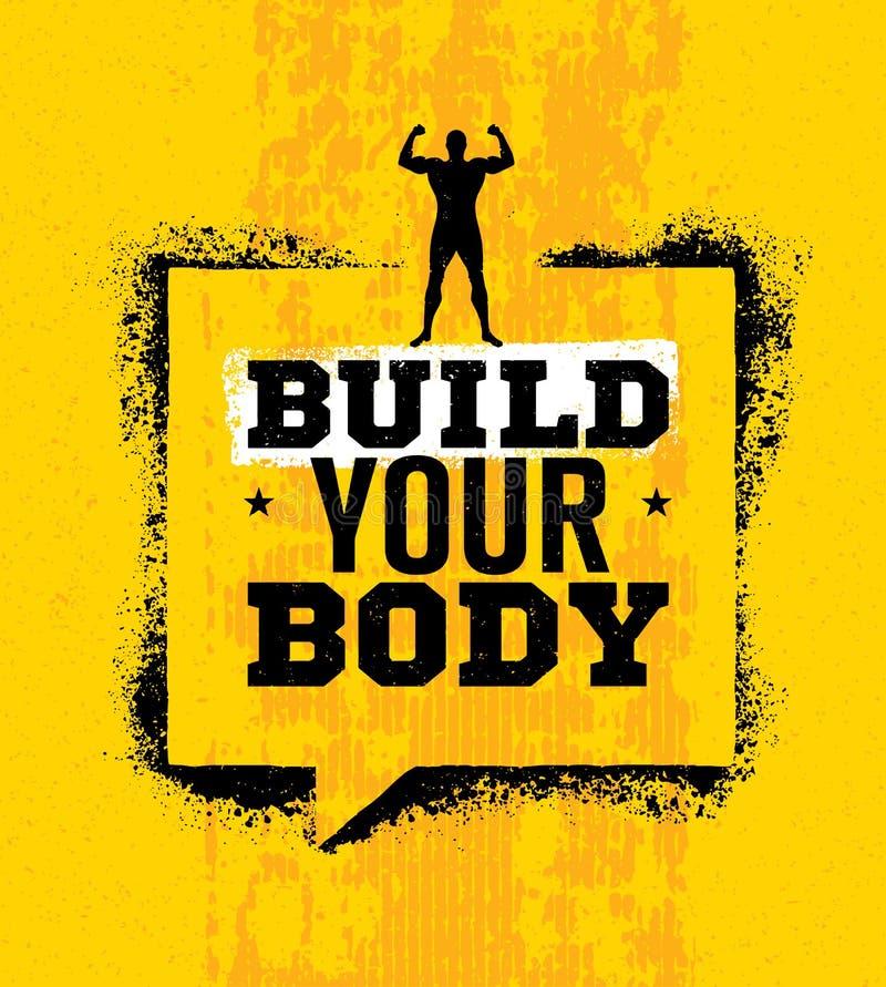 Construa seu corpo Citações inspiradores da motivação do Gym do exercício e da aptidão Elemento criativo do projeto do Grunge da  ilustração stock