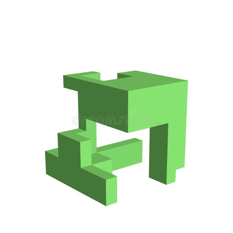 Construcción abstracta 3D Aislado en el fondo blanco Vector i libre illustration