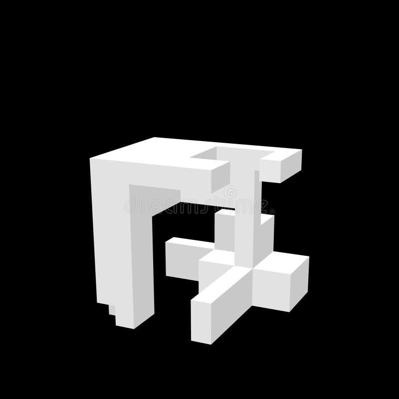 Construcción abstracta 3D Aislado en fondo negro Vector i libre illustration