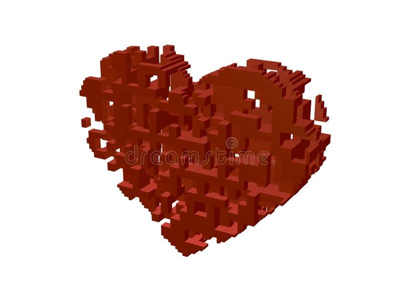 Construcción abstracta 3d en la forma de corazón Ilustración del vector ilustración del vector