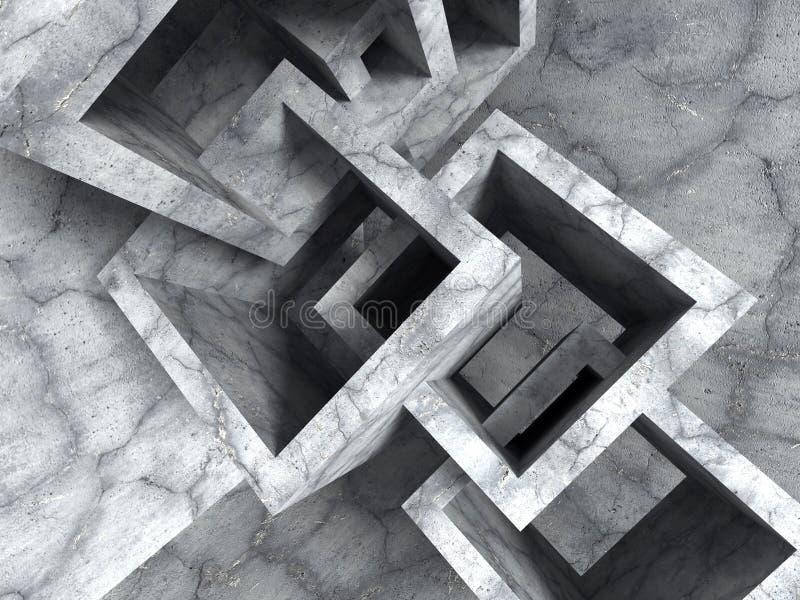 Construcción caótica de los cubos de la arquitectura concreta abstracta stock de ilustración