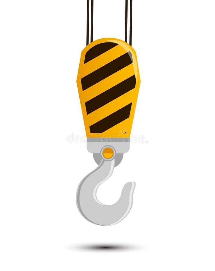 Construcción Crane Hook Vector Illustration pesado industrial ilustración del vector