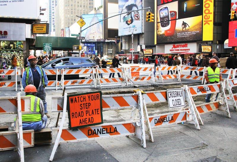 Construcción de carreteras en NYC fotos de archivo libres de regalías