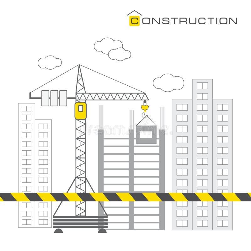 Construcción de edificios en el fondo blanco libre illustration
