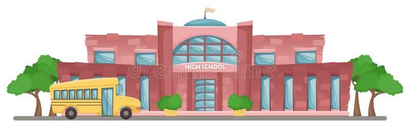 Construcción de escuelas en estilo de la historieta Paisaje horizontal del vector plano Autob?s amarillo de la escuela ilustración del vector