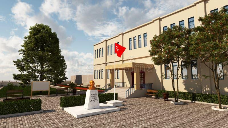 Construcción de escuelas exterior con el busto de Ataturk y de la bandera turca foto de archivo