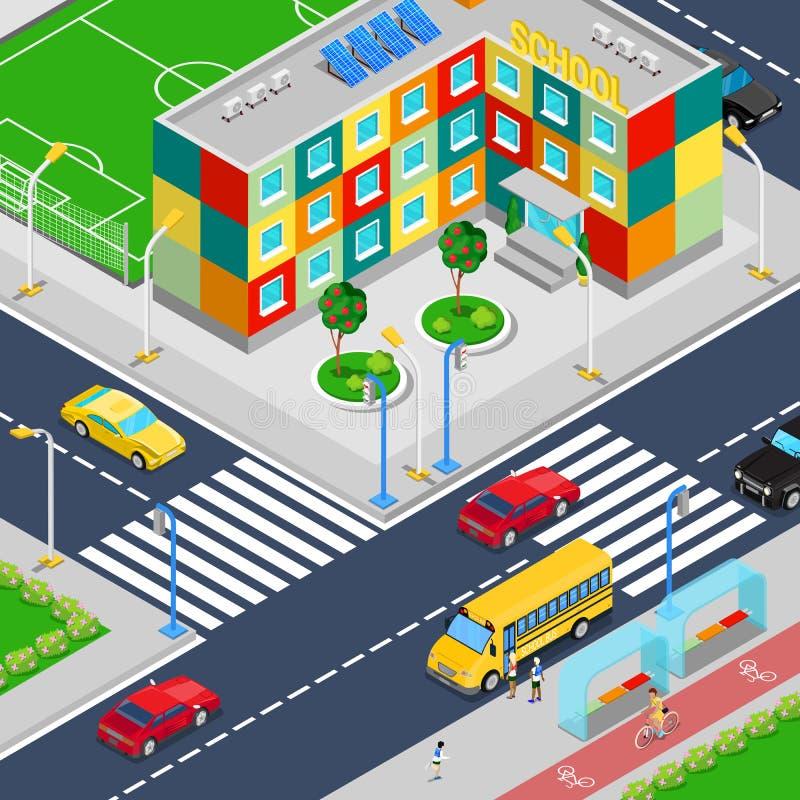 Construcción de escuelas isométrica de la ciudad con el autobús escolar y los escolares del patio del fútbol ilustración del vector