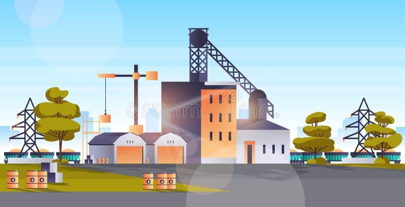 Construcción de fábrica construcción de la zona industrial de la central de energía concepto de tecnología de producción de la ci ilustración del vector