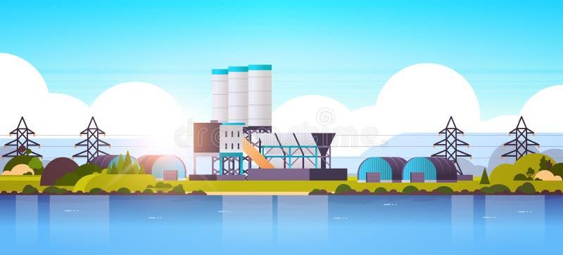 Construcción de fábricas cerca de la planta de la zona industrial fluvial o marítima con tuberías y producción de centrales eléct libre illustration